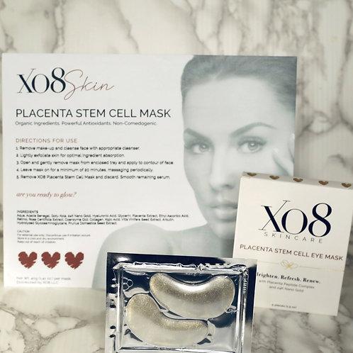 XO8 Placenta Stem Cell Face Mask, Lip Mask & Eye Mask