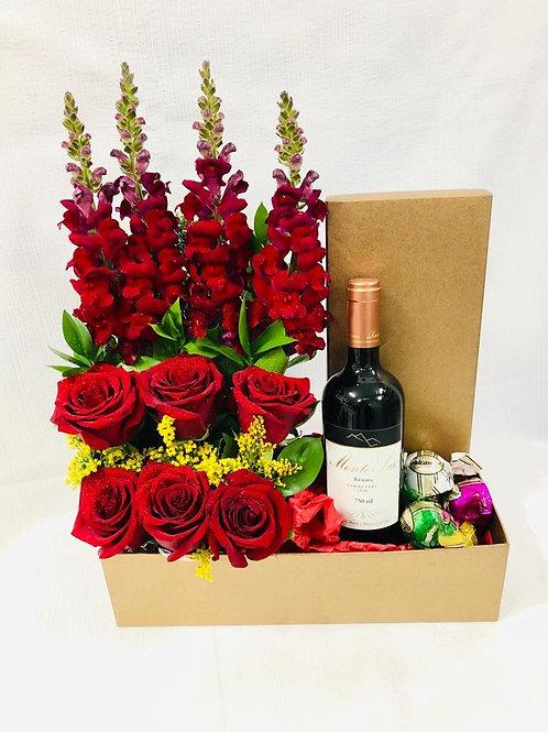 Caixa c/ flores vinho e trufas