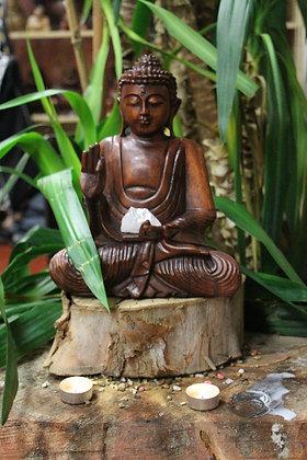 30 cm Hand Carved Serene Buddha - Dark Wood