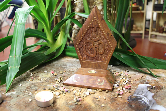 Hand carved OM Incense Holder