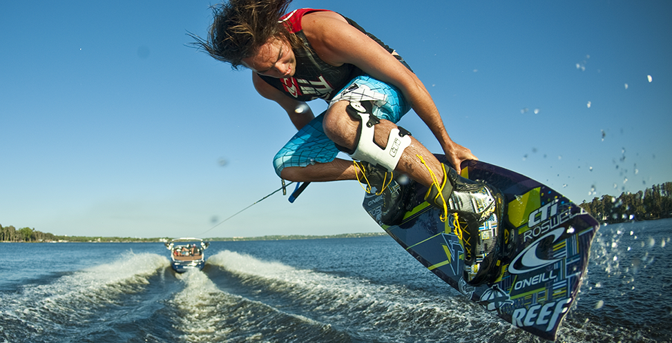 Wakeboarding with brace.