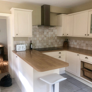 Kitchen leading into dining room