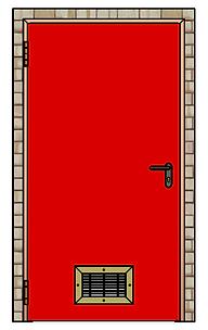 porte coupe feu 1 vantail avec grille de ventilation