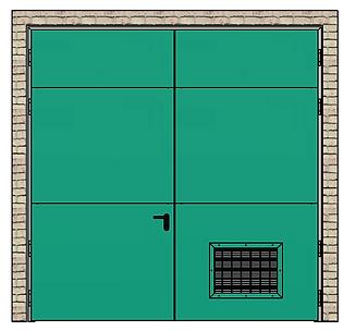 porte coupe feu 2 vantaux avec grille de ventilation