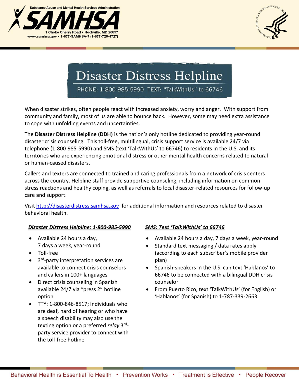 National Helpline Samhsa Substance Abuse And Mental Health >> National Disaster Distress Hotline Info Resources