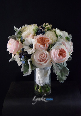Bride's bouquet from blush roses, garden