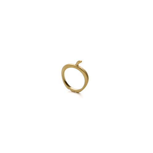 Gold Pleated Apple Ring