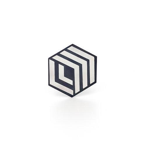 Silver hexagonal brooch