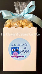 Baby boy popcorn favor!  Ready to POP!  Owl baby shower favor!  Popcorn baby shower favor!
