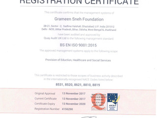 Grameen Sneh Foundation  gets ISO 9001:2015 Certification