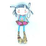 Boneca de pano juju colorida