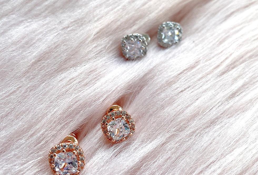 Square Cubic Zirconia Stud Pierced Earrings