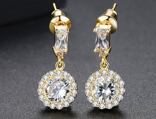 Gold Rectangular Crystal with Crystal Drop Earrings