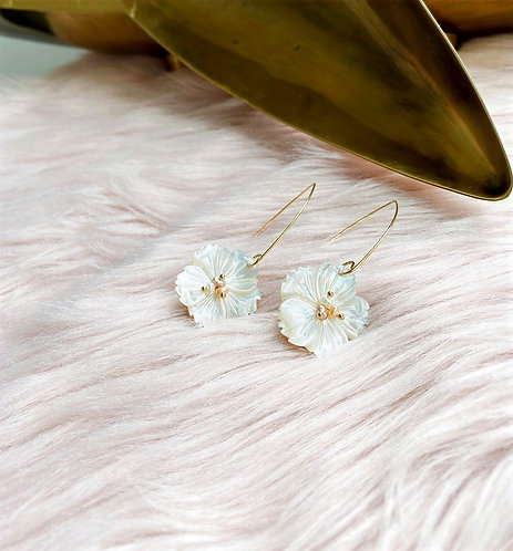 Goldplate Flower Shell Drop Earrings