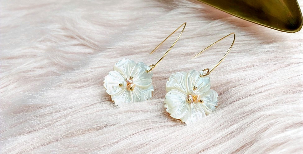 Goldplate Flower Shell Drop Earrings