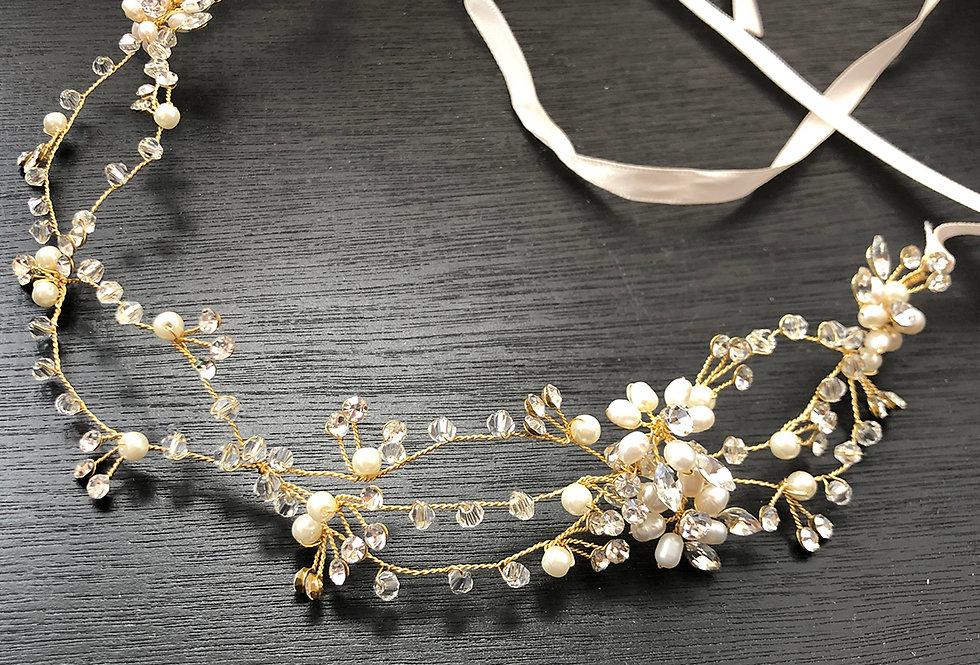 Gold crystal pearl Head Band