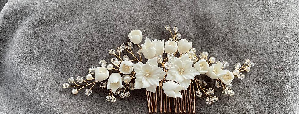 Ceramic detailed Floral Hair Comb