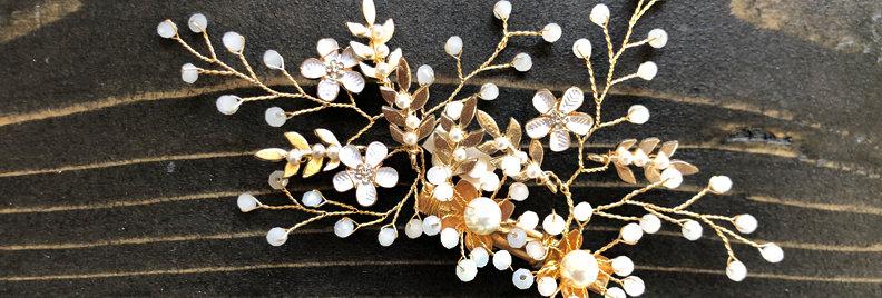Flower leaf Hair clip gold