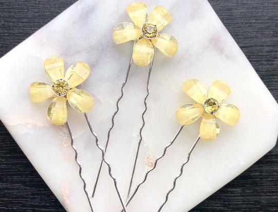 3 Yellow Flower Hair pins