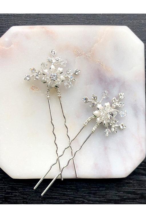 2 Silver crystal bridal hair pins