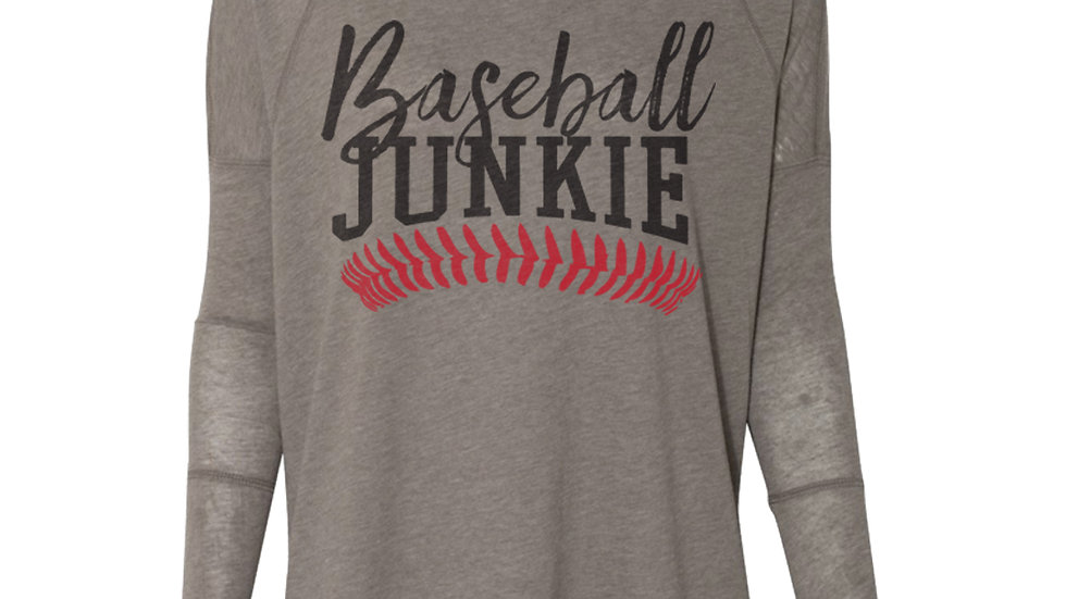 Womens Baseball Junkie Dolman Long Sleeve Tee