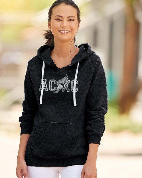 ACXC Women's Sueded V-Neck Hooded Sweatshirt