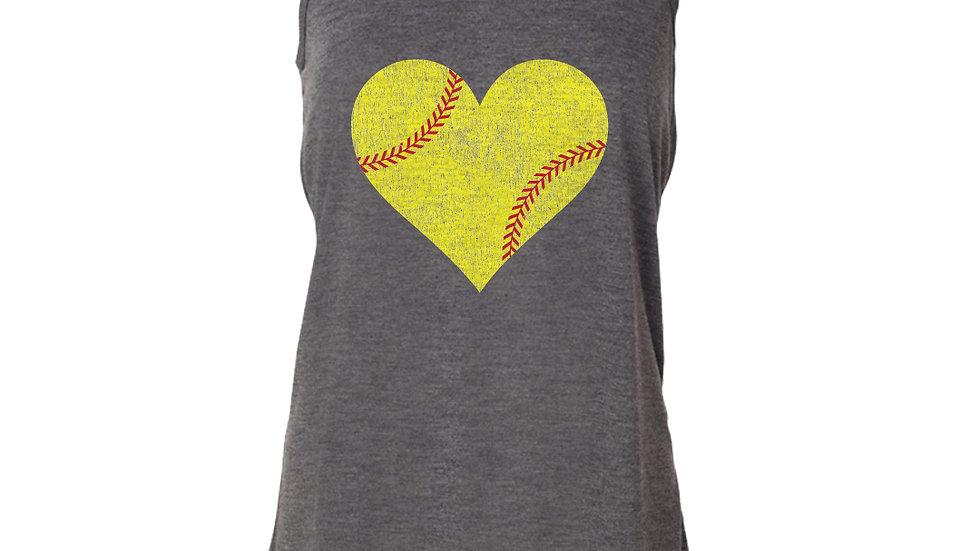Baseball/Softball Heart Flowy Tank