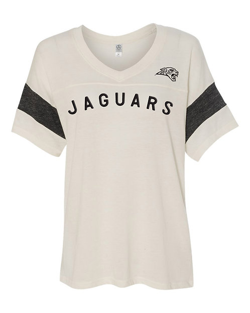 Womens Jaguars Vintage Powder Puff V-Neck Tee