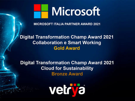 VETRYA premiata due volte nei Microsoft Partner Awards 2021