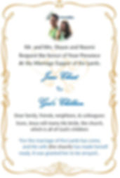 ShauNae's wedding invite for the Lamb pa