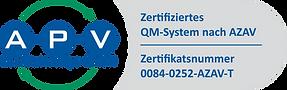 APV-Zertifikat-Logo QM 0084-0252-AZAV-T.
