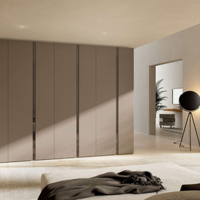 A hinged wardrobe in glass and lacquer