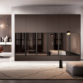 A combination wardrobe with glass and lacquer.