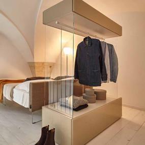 A unique standalone glass wardrobe