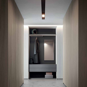 An open wardrobe in lacquer