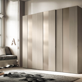 A hinged wardrobe in glass and melamine.
