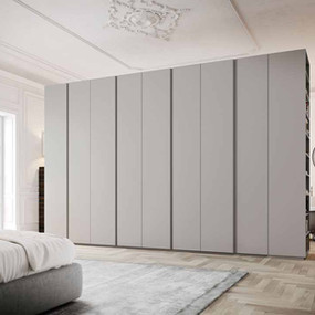 A matt lacquer wardrobe with hinged doors