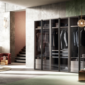 A hinged wardrobe in glass