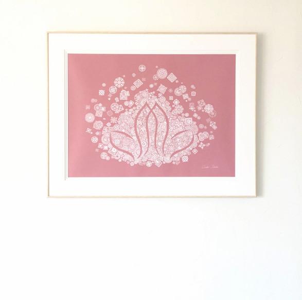 蓮の花デザインをレースアートに