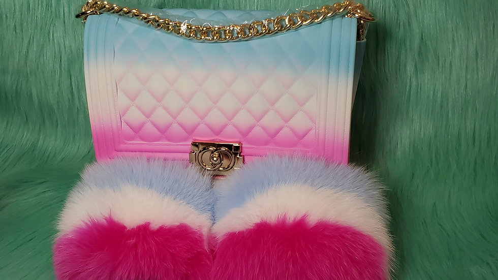 Bubble Gum Fur Slides and Purse