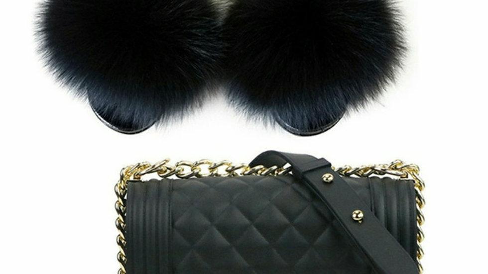 Basics Black fur slides and purse