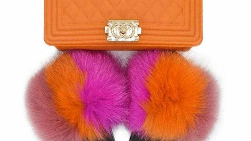Orange Sherbet fur slides