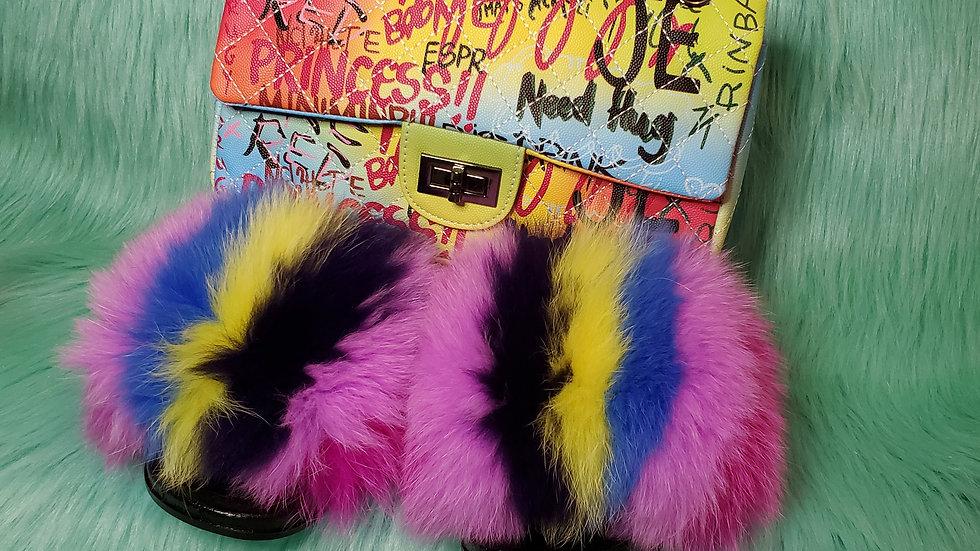 Grafitti Princess Fur Slides and Purse
