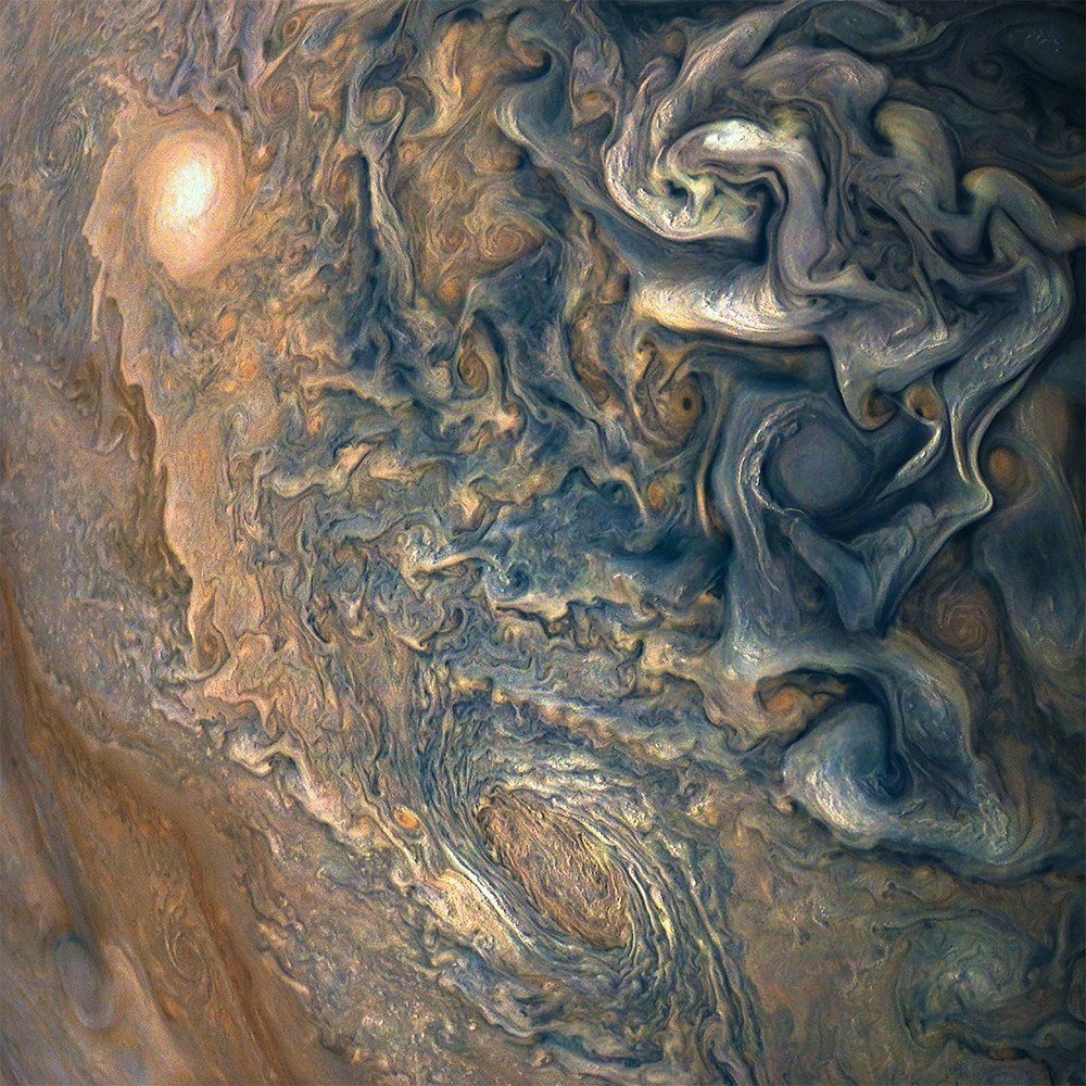 Juno took this image of colorful, turbulent clouds in Jupiter's northern hemisphere on Dec. 16, 2017 from 8,292 miles (13,345 kilometers) above the tops of Jupiter's clouds.