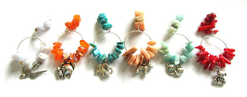 Wine Glass Charms Gemstone - Single or Select for Set of 6
