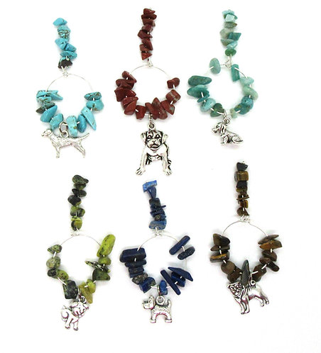 Wine Glass Charms Gemstone - Dogs Range 1 Set of 6