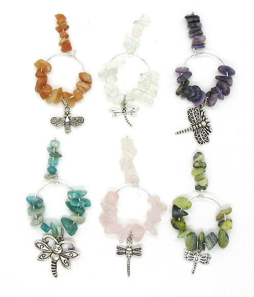 Wine Glass Charms Gemstone - Dragonfly Range Set of 6