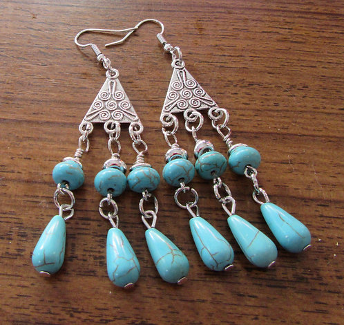 Earrings Chandelier with Turquoise Gemstones