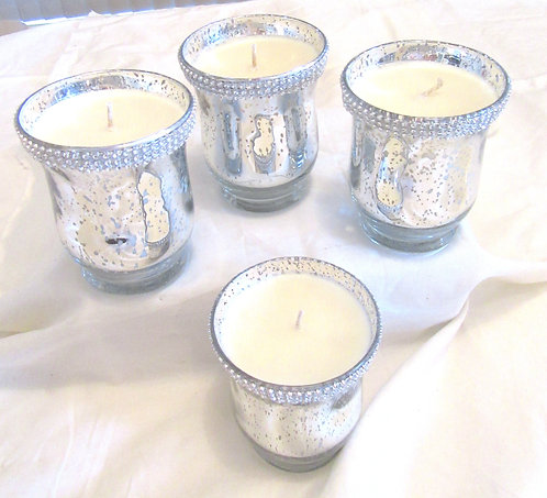 Silver Tulip Diamonte Glass Jar Candles