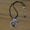 Black Faux Leather Necklaces with Pendan